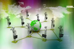 3d image of virtual men on global connection - stock illustration