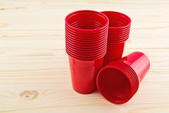 Plastic red cups Stock Photos