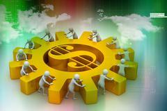 3d people push the dollar wheel - stock illustration