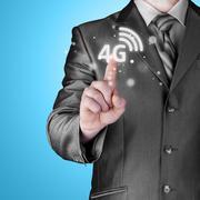 Businessman pushing 4g - stock illustration