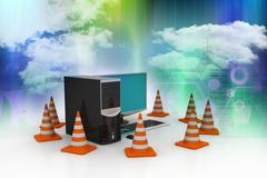 Computer with traffic sign Stock Illustration