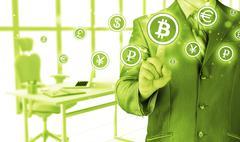 Choosing bitcoins, businessman pressing touch screen button. - stock illustration