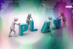 3d render of person placing plan letters Stock Illustration