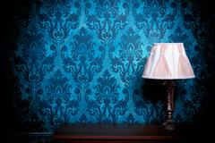 old lamp in blue vintage interior - stock photo