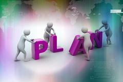 3d render of person placing plan letters - stock illustration