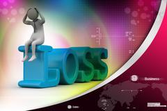Business man in loss Stock Illustration