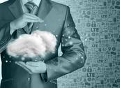 Stock Illustration of Cloud computing concept, close up of young businessman