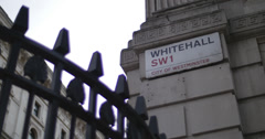 Whitehall sign (British PM) 4K Stock Footage