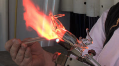 1080p Glass Blowing and Sculpting  Stock Footage