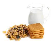Breakfast with corn-flakes - stock photo