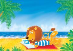 Lion on a beach - stock illustration