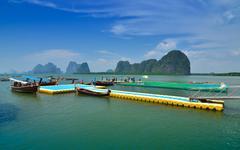 Floating football field of panyee island, thailand Stock Photos