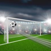 soccer ball flies into the goal - stock illustration
