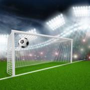 Soccer ball flies into the goal Stock Illustration