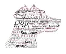 dog breed canine word cloud typography illustration concepts ideas - stock photo