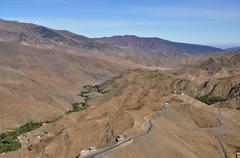 Curly road in the high atlas mountains in morocco Stock Photos