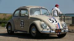 "Vintage ""Herbie"" Car Brighton Beach Stock Footage"