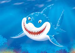 Great white shark on a reef Stock Illustration