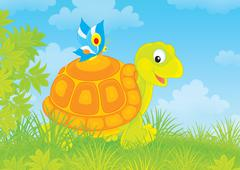 Turtle and butterfly Stock Illustration