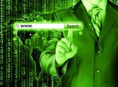 Businessman pushing virtual search bar Stock Illustration