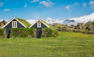 Stock Photo of Typical scandinavian houses with grass on the roof