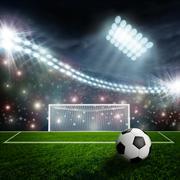 Stock Illustration of Soccer ball on green stadium arena