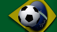 Soccer ball rotates on animated brazil flag - Video Background - stock footage