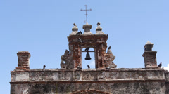 Pigeons on very old  colonial era church bell tower Stock Footage
