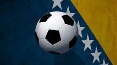 Soccer ball rotates on animated bosnia flag - Video Background Stock Footage