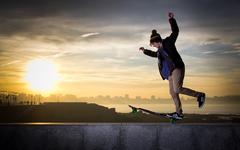 teen skateboarder - stock photo