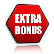 Extra bonus in red hexagon banner Stock Illustration