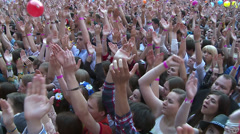 crowd of fans applauding to a rock concert - stock footage