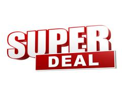 Super deal red white banner - letters and block Stock Illustration