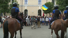 Mounted police is pressing the crowd of right-wing nationalists. Stock Footage