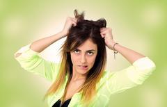 Expressive woman Stock Photos