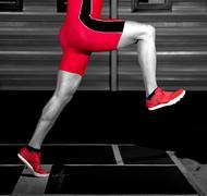 Long jump athlete Stock Photos