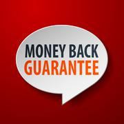 money back guarantee 3d speech bubble on red background - stock illustration