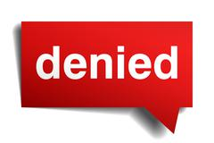 Denied red 3d realistic paper speech bubble isolated on white Stock Illustration