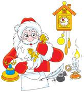 Santa Claus calling on the phone - stock illustration