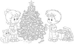 Children decorating their Christmas tree - stock illustration