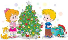 Children decorating a Christmas tree Stock Illustration