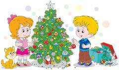 Stock Illustration of Children decorating a Christmas tree