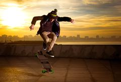 teen skateboarder - stock photo