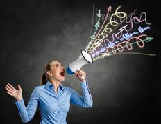 angry woman screaming into megaphone - stock illustration