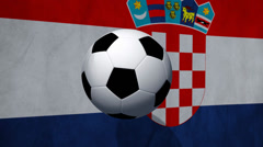 Soccer ball rotates on  animated Croatia flag - Video Background - stock footage