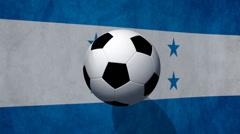 Soccer ball rotates on animated Honduras flag - Video Background - stock footage