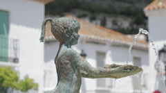 Fountain of Child in Village Square - Benalmadena, SPA Stock Footage