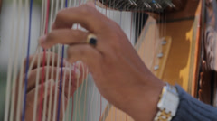 Harp Players Hands Close Up Stock Footage