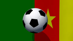 Soccer ball rotates on animated cameroon flag - Video Background Stock Footage