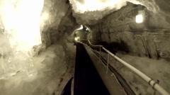 Walking inside Matterhorn Glacier Paradise Stock Footage